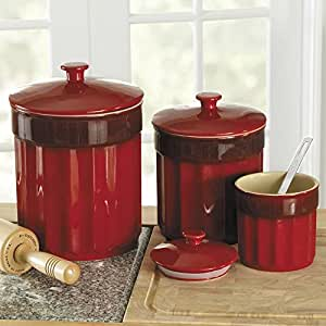 red kitchen canisters ceramic chefs stoneware kitchen canister set 3 pieces 21439