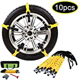 【NEW 2018 VERSION 】Snow Chains Car Anti Slip Tire Chains Adjustable Anti-Skid Chains Car Tire Snow Chains Fits for Most Car/SUV/Truck-Set of 10 Width 185-295mm/7.2-11.6''