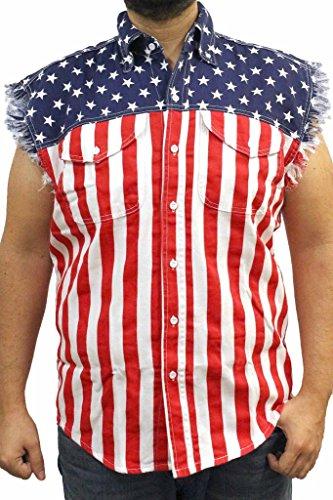 Men's USA Flag Sleevless Denim Shirt Biker USA (Large) ()