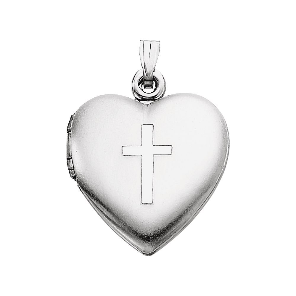 Sterling Silver Heart Locket With Cross 15.5 X 13