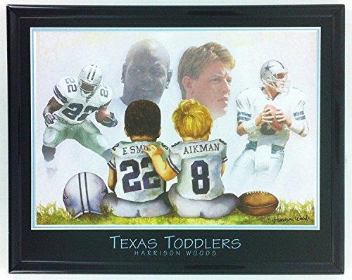 - Dallas Cowboys Troy Aikman & Emmitt Smith - Texas Toddlers Framed Photo