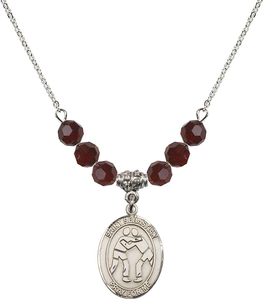 Rhodium Plated Necklace with 6mm Garnet Birthstone Beads & Saint Sebastian/Wrestling Charm. by F A Dumont
