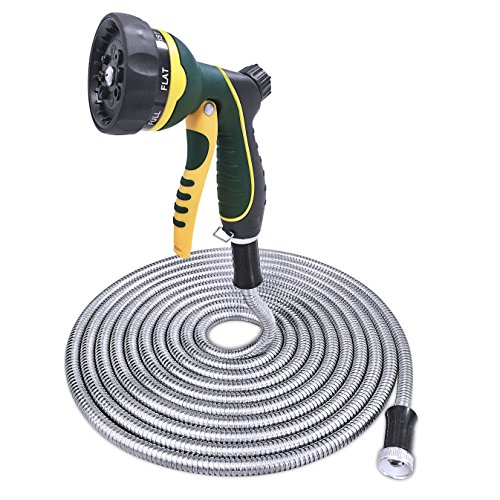 TheFitLife Stainless Steel Metal Garden Hose 304 Stainless Steel Water Hose with Solid Metal Fittings and Newest Spray Nozzle, Lightweight, Kink Free, Durable and Easy to Store (50 Feet) ()
