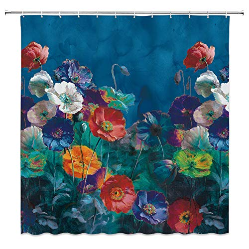 Romantic Oil Paintings - AMFD Flower Art Shower Curtain Beautiful Delicate Floral Plant Romantic Oil Painting Style Bathroom Curtains Decor Polyester Fabric Waterproof 70 X 70 Inches Include Hooks Blue Navy
