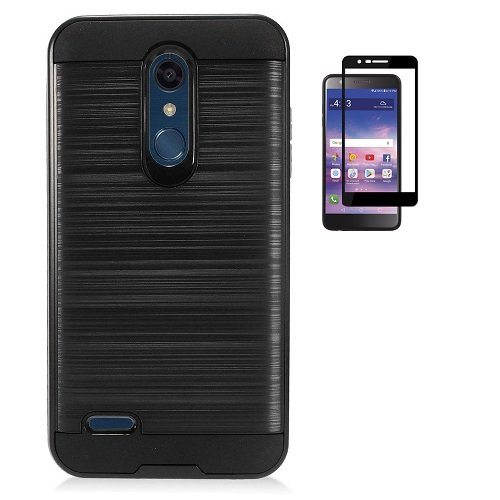LG K30 Case, Phone Case for LG Premier Pro L413DG, L413DL (Tracfone, Total Wireless), Dual Layer Metallic Brush Finish Shockproof Protection Cover Case with Tempered Glass Screen Protector - Case Access Lte Lg Metallic