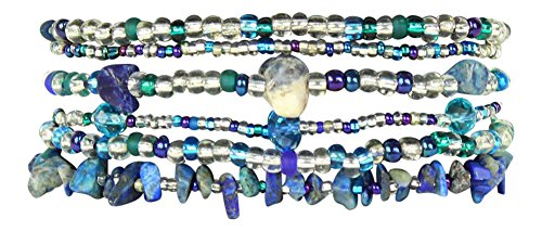 Funky 6 Strand Beaded Bracelet with Double Magnetic Clasp, Handmade in Guatemala (Blue and Crystal)