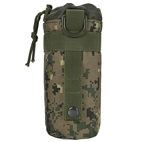 Faleto Tactical MOLLE Water Bottle Pouch Drawstring Portable H2O Hydration Carrier Water Bottle Holder,Jungle Camo ()