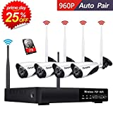 HD 960P 4-Channel CANAVIS Wireless Security Camera System,4Pcs 960P(1.0 Megapixel) Wireless Indoor/Outdoor IR Bullet IP Cameras,P2P,App, HDMI Cord & 1TB HDD Pre-Install