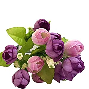 VEFSU Wedding Bouquet 15 Heads Artificial Rose Silk Fake Flower Leaf Home Decor Bridal Bouquet (Purple) 15