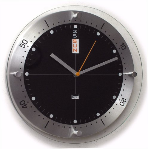 Bai Timemaster Brushed Aluminum Day & Date Wall Clock, Black