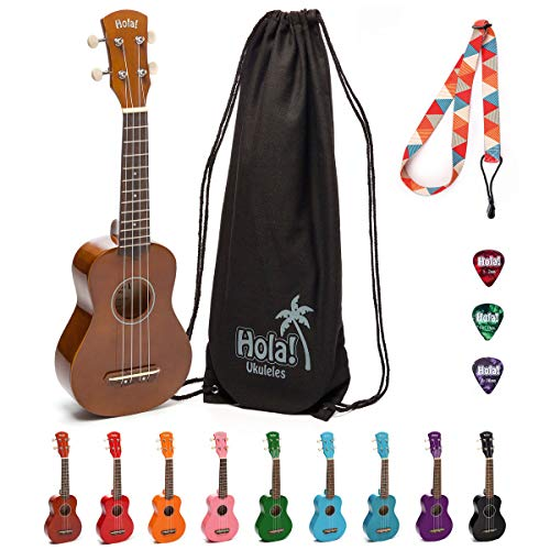 Hola! Music HM-21BR Soprano Ukulele Bundle with Canvas Tote Bag, Strap and Picks, Color Series, Natural