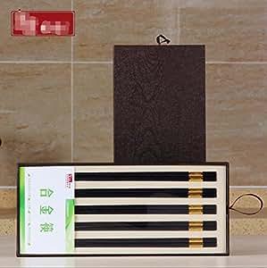 Home-silver, hotel tableware, gift box 5 set, metal chopsticks , white (hx212 silver fu 5 double gift box)