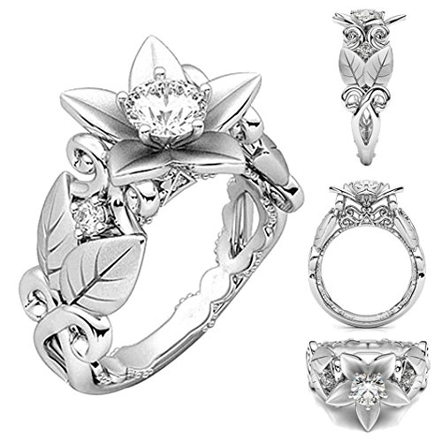 Ring Engagement Hoop - Balakie Beautiful Ring Women Floral Rose Lucky Flower Crystal Diamond Jewelry Gift Ring (Silver, 6)