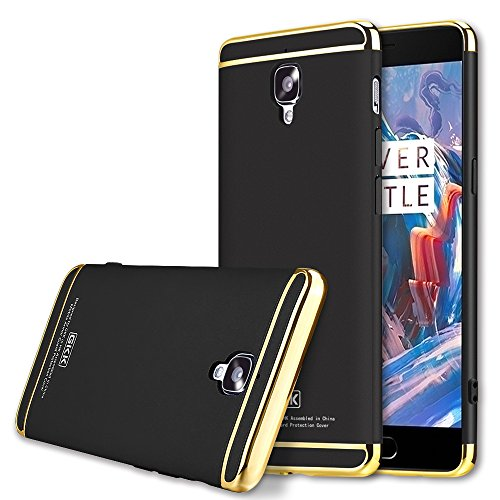 OnePlus 3T Case, GKK 3 in 1 Hybrid PC [HARD] Full Protection/Electroplated Line Case for OnePlus 3/3T (Black)