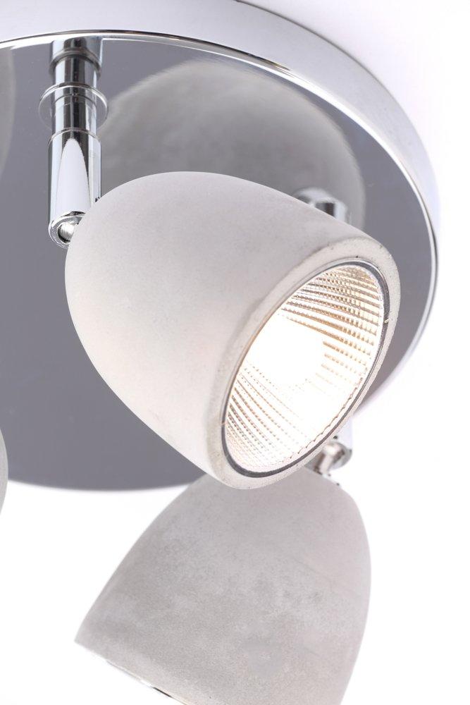 Grey//Chrome C To E Illuminate Lima Subtle And Sleek Design Spotlight On The Chrome Round Plate With 3 Stylish Concrete Effect Pivoting Grey Shades Other