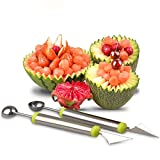 2PCS BeautyMood Melon Baller To Make Melon Balls With Fruit Carving Knife Multifunction Kitchen,Stainless Steel Tools For DIY Fruit Salads,Cake,Ice Cream Scooper for creative fruit carving.