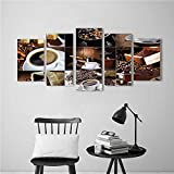 5 Pieces Art The Picture for Home Decoration Frameless of Coffee...