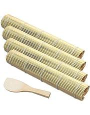 Bambu sushimatta bambu rullmatta för sushi nybörjare sushi rullmatta för gör-det-själv sushi inklusive sushirulle och rispaddel bambu sushi rullmatta användbara matlagningsverktyg hem kök 5 st