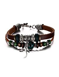 SumBonum Jewelry Mens Womens Alloy Braided Leather Rope Cuff Bracelet, Vintage Beads Dragonfly Charm Cuff, Brown Green Silver