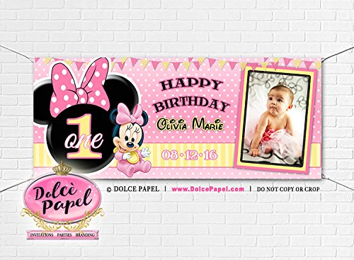 Large 6'x2.5 Baby Minnie Mouse Yellow and Pink 1st Birthday Custom Photo Polka Dot Vinyl Birthday Party Banner Royal Gromets included]()