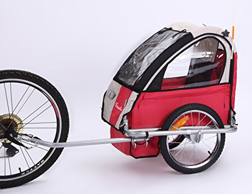 Sepnine Oxford Fabric Baby Bicycle Trailer of Single seat for one Child BT-505 (red/Grey)