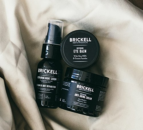 51RKppSFJbL - Brickell Men's Advanced Anti-Aging Routine, Night Face Cream, Vitamin C Facial Serum and Eye Cream, Natural and Organic, Scented