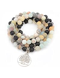 M&B Premium 10mm Mala Beads Bracelet Necklace Combo - 108 Mala Prayer Beads - Yoga Necklace - Zen Jewelry