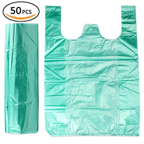 Plinrise Handle Garbage Rubbish Trash Wastebasket Bags small Size,Great for Indoor Office,living Room, Bedroon,Car,50 Counts/Rolls,Size: 14 x 22 Inch, (Green 2 Gallon) (Waste Paper Basket Plastic Bags compare prices)
