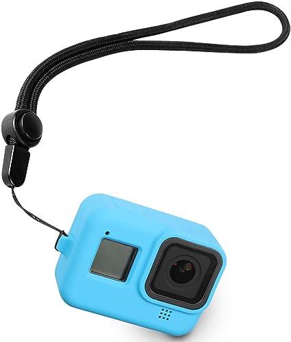 Silikon Schutzhülle Mit Anti Verlust Seil Für Gopro Hero 8 Schwarz Gehäuse Schutzhülle Für Gopro Hero 8 Action Kamera Blau Elektronik