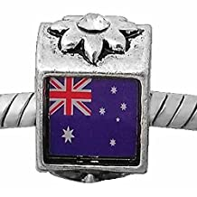 "2 Sides ""Photo of Australia Flag Charm "" Bead Spacer with Color Crystal Stones For Snake Chain Charm Bracelet"