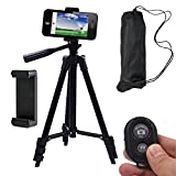 Conzy Aluminum alloy Portable and adjustable Tripod Stand Holder for iPhone, Cellphone ,Camera with Universal Clip and Remote (Bright black)