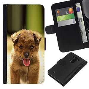 All Phone Most Case / Oferta Especial Cáscara Funda de cuero Monedero Cubierta de proteccion Caso / Wallet Case for LG G3 // Cute Happy Puppy Dog