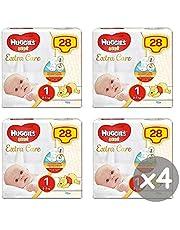 Huggies Bebè Extra Care luiers, maat 1 (2-5 kg), 4 x 28 stuks