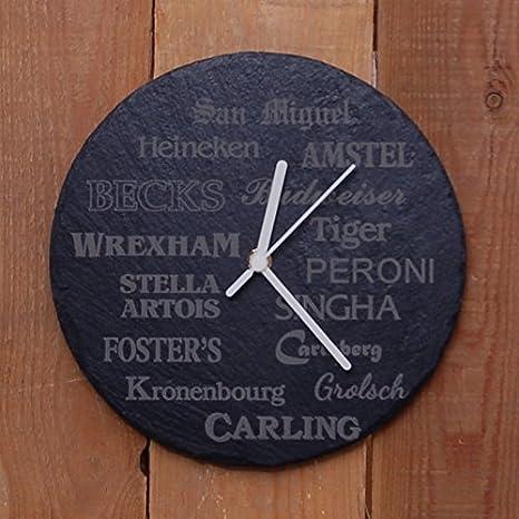 Redondo Reloj de Pizarra Cerveza Diseño - Láser Grabado ...