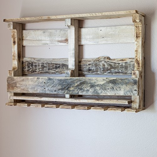 Pallet Wine Rack Wall Mounted Made From Rustic Reclaimed Wood 8 Bottle with Stemware Holder  Natural