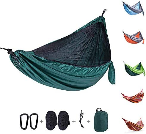 Camping Hammock with Netting Mosquito Bug Net, Double Single Travel Hammock with 2 Tree Straps and Carabiners, Portable Parachute Nylon Hammocks for Outside, Backyard, Hiking, Backpacking