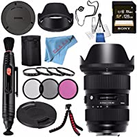 Sigma 24-35mm f/2 DG HSM Art Lens for Nikon F #588955 + 82mm 3 Piece Filter Kit + Sony 128GB SDXC Card + Lens Pen Cleaner + Fibercloth + Lens Capkeeper + Deluxe Cleaning Kit + Flexible Tripod Bundle