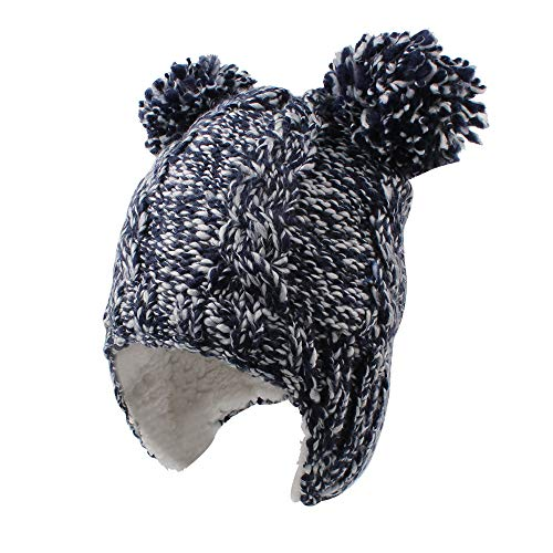 Chunky Cable Knit Baby Hat with Pompom Baby Boys Girls Winter Beanie Warm Fleece Lining Earflap Hat Classic Infant Toddler Bonnet 6M-4Y (1-2 Years, Navy)