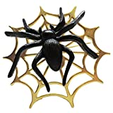 "2.5"" Spider Web Pin with Spider, Jonette Jewelry, Made in USA! Halloween, in Black with Gold Tone Finish"