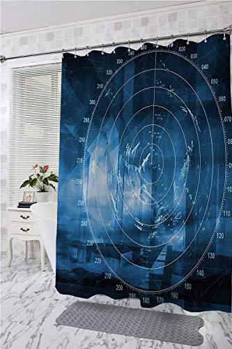 homecoco Navy Blue Polyester Shower Curtain Modern Ship with Radar Exposure in Screen Digital Electronic Hi Tech Futuristic Concept Bath Shower Curtain Blue W72 x L72