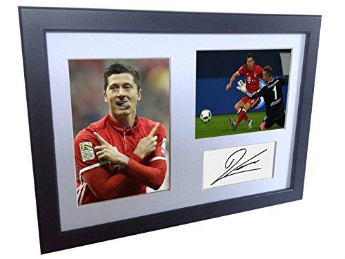 Kitbags & Lockers Weiß signierte Fotodrucke von Robert Lewandowski, FC Bayern Mnchen, gerahmtes Foto-Bild, Fotodruck-Geschenkidee ()
