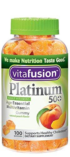 Vitafusion platino 50 + multivitaminas gomoso, cuenta 100