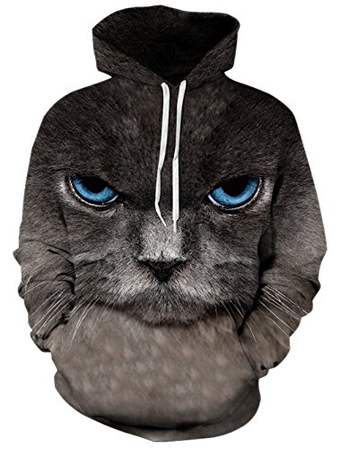 RAISEVERN Men's Various Graphic Printed Big Pockets Drawstring Hoodie Sweatshirt XL Grumpy Cat