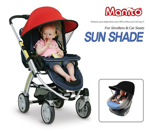 Manito Sun Shade for Strollers and Car Seats - Black (7 Available Colors) by Manito (Image #6)