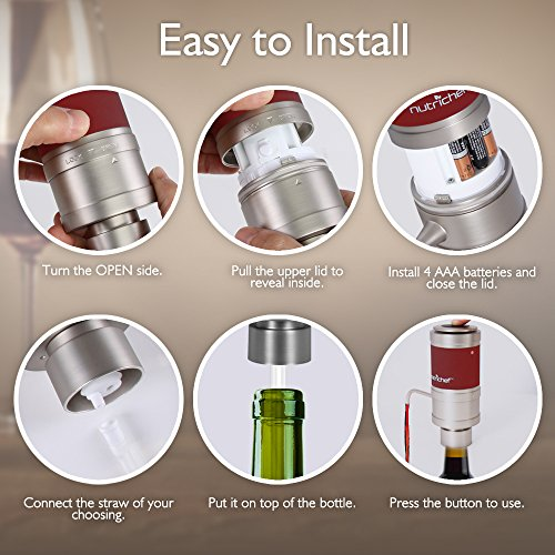 Electric Wine Aerator Dispenser Pump - Portable and Automatic Bottle Breather Tap Machine - Air Decanter Diffuser System for Red and White Wine w/Unique Metal Pourer Spout - NutriChef PSLWPMP50 by NutriChef (Image #5)