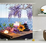 Ambesonne Spa Decor Collection, Massage Stones with Daisy and Wisteria with the Seabed Foliage Meditation Picture, Polyester Fabric Bathroom Shower Curtain, 75 Inches Long, Lilac Green Orange