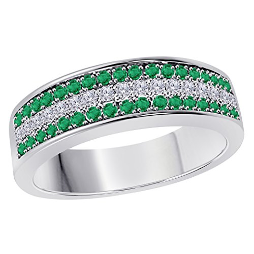 Silver Gems Factory 6MM 14K White Gold Plated 0.50CT Green Emerald & White Cz Diamond Ring 3 Row Pave Half Eternity Men's Anniversary Wedding Band Ring
