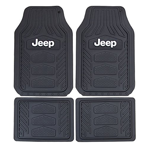 Logo Black Car Mat - Plasticolor 001668R01 Weatherpro Black One Size Jeep Logo Car Truck SUV Heavy Duty Rubber, 4 Piece Front and Rear Floor Mat Set