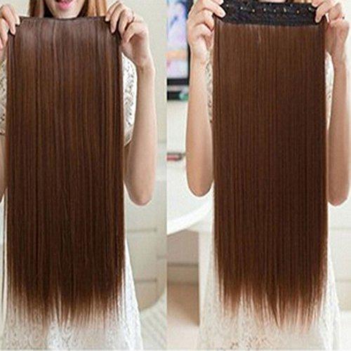 Spritech(TM) New Stylish One Piece Flax Women Long?Straight?Hair Extension 5 Clips Hairpiece