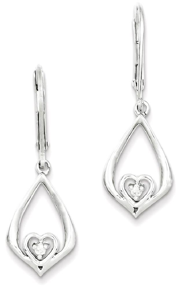 ICE CARATS 925 Sterling Silver Diamond Heart In Teardrop Post Stud Earrings Drop Dangle Love Fine Jewelry Gift Set For Women Heart